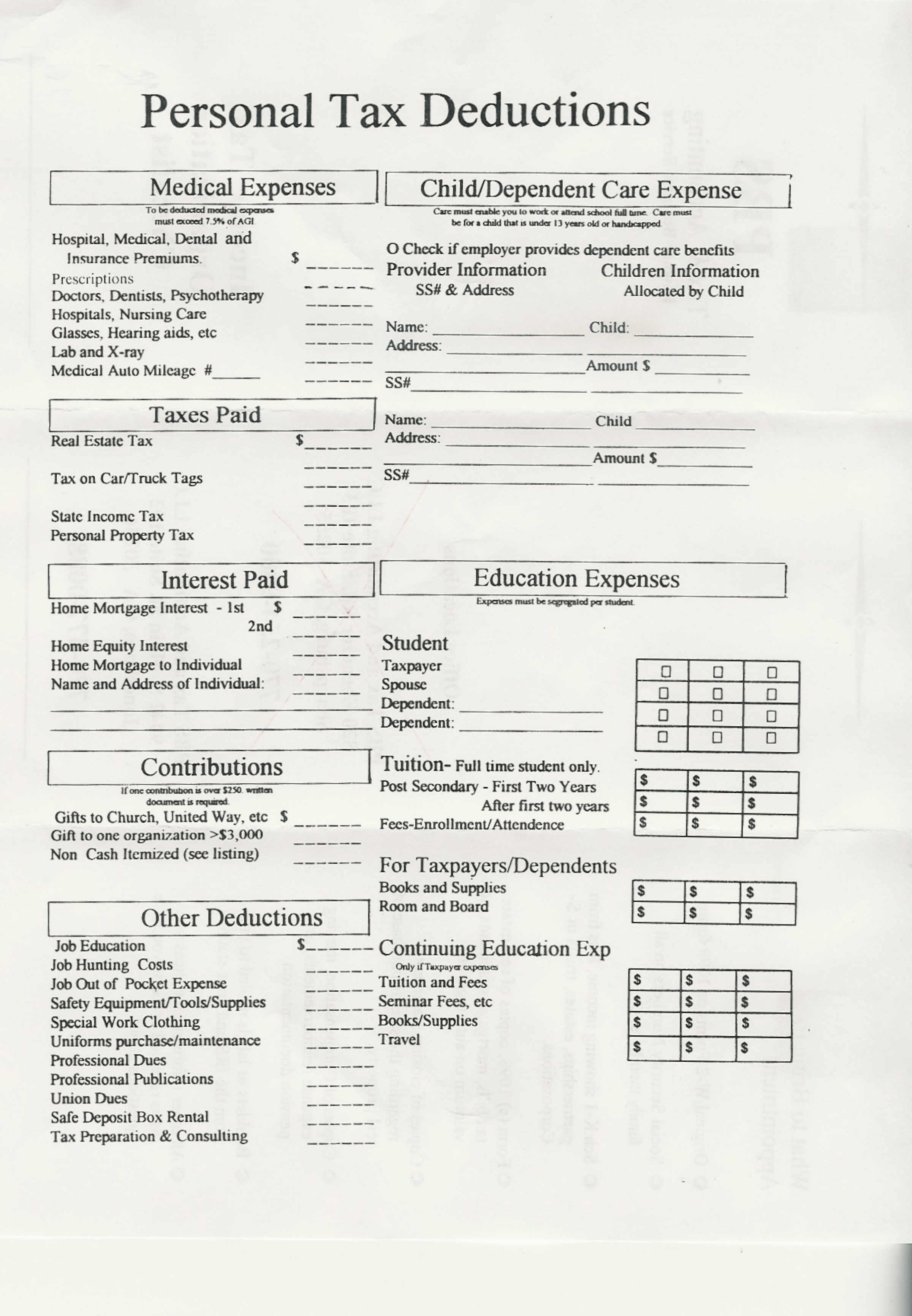 Printables Deduction Worksheet pbs tax and accounting personal deduction worksheet